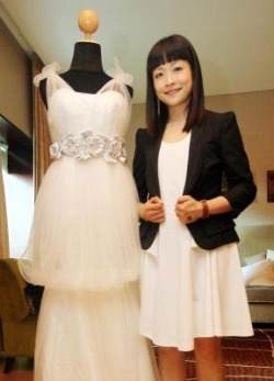 Dream weaver: Up-and-coming designer Thoi with one of her creations.