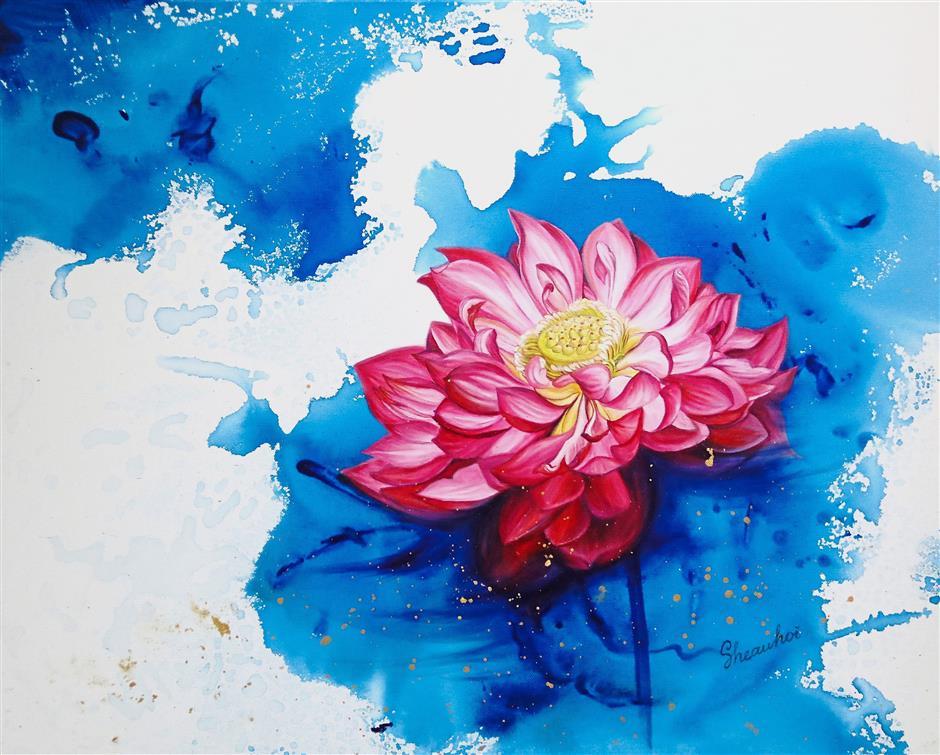 'Pink Lotus I' by Ng Sheau Hoi.