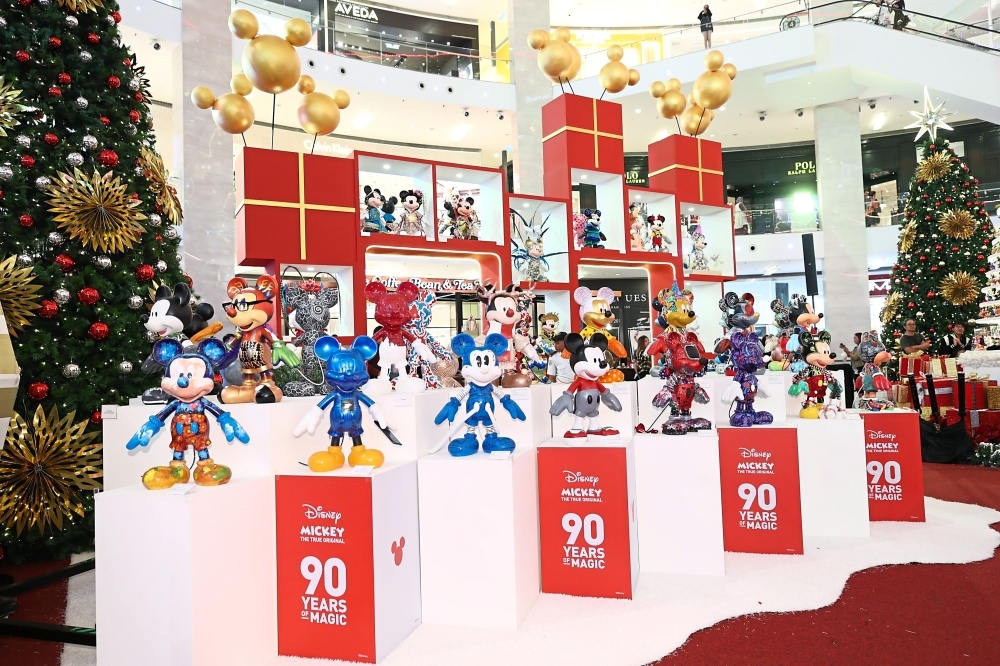 A showcase of Mickey Mouse figurines as part of Pavilion Kuala Lumpur's Christmas decor this year.