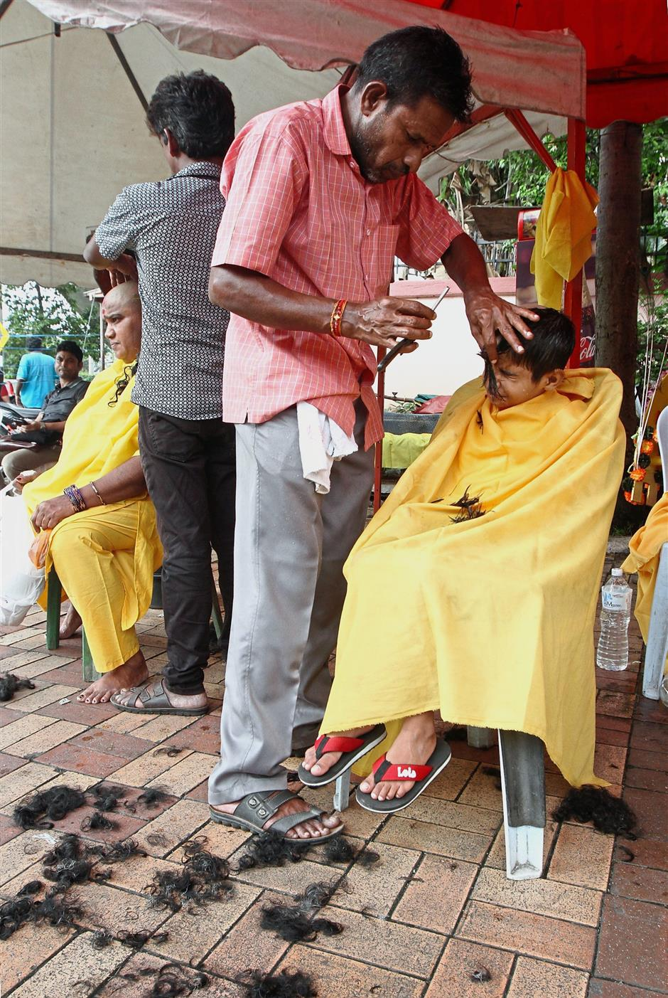 Those who offer penance may also opt to shave their heads today.