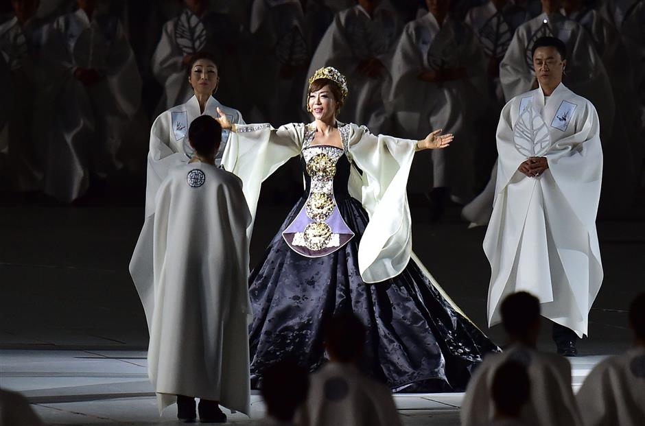 The grande dame of Korean opera, Jo Sumi, in an enthralling performance. - AFP