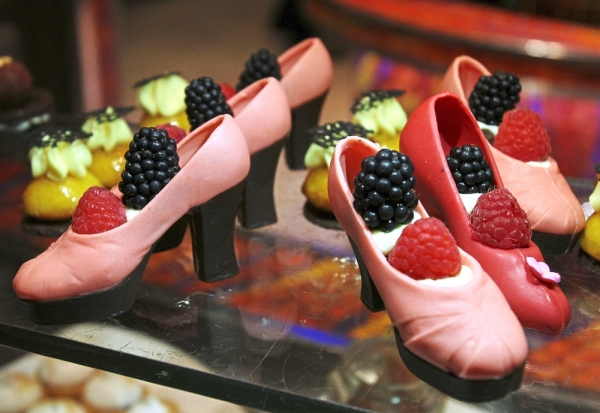 The dessert island features tempting treats, including these shoe-shaped chocolates.