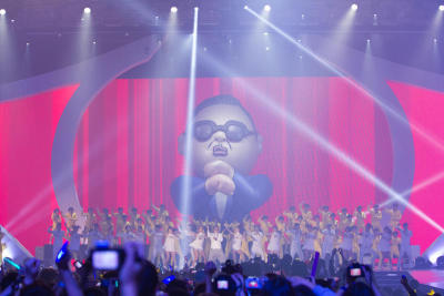 Larger than life: Psy performing his viral hit Gangnam Style at the recent Mama 2012 held in Hong Kong.