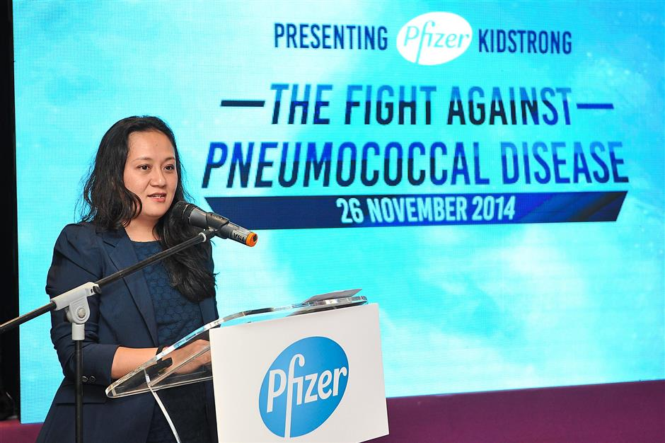 1 Pfizer Malaysia's director of corporate affairs , health and value Noor Yang Azwar Kamarudin says its Kidstrong campaign hopes to awareness and highlight the importance of protection against pneumococcal disease.
