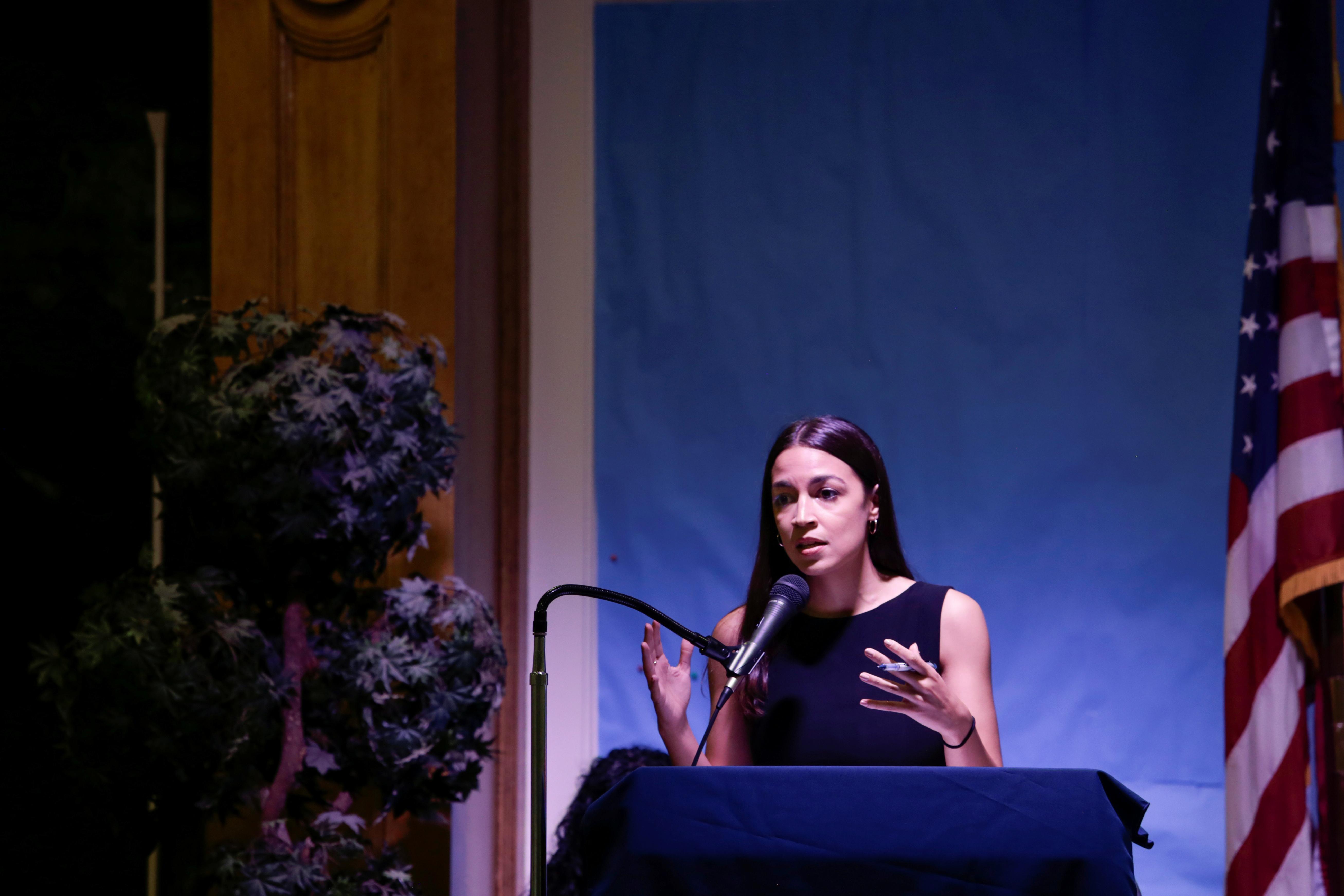 Representative Alexandria Ocasio-Cortez speaks during an Immigration Town Hall at The Nancy DeBenedittis Public School in Queens, New York, U.S. July 20, 2019. REUTERS/Gabriella Angotti-Jones
