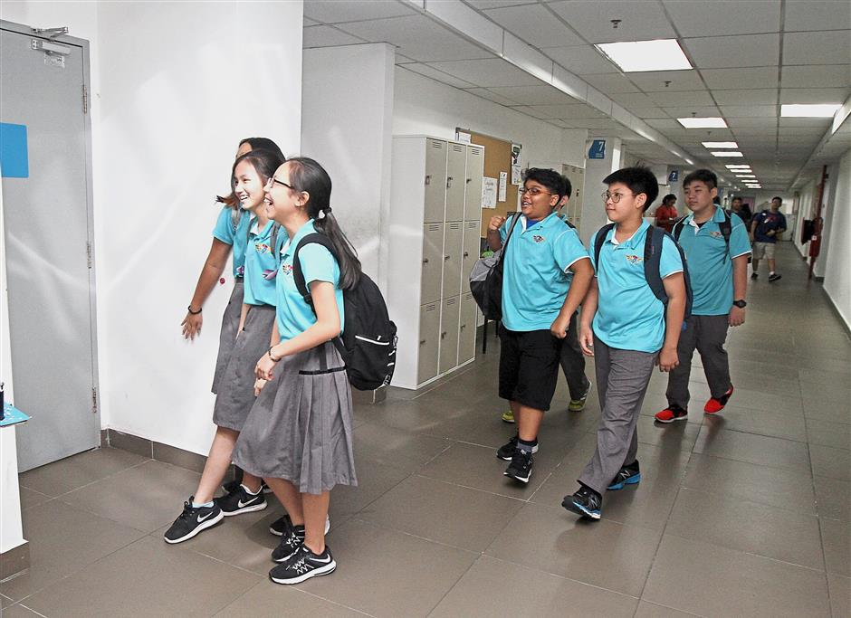 Building leaders: Students at Dwi Emas are a confident and boisterous lot.