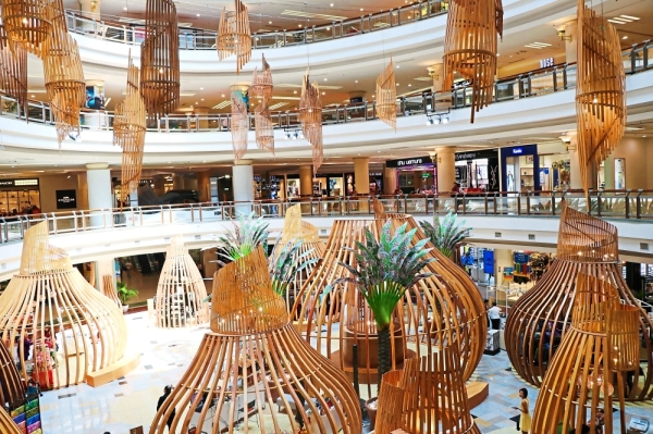 """At 1 Utama Shopping Centre, the festive theme is """"Sulaman Kasih"""", where the decorations revolve around the art of weaving and bamboo."""
