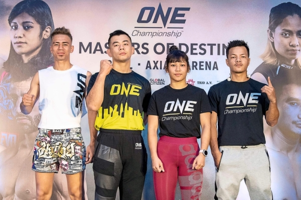 (From left) Combat athletes Mohammed, Ev Ting, Jihin and Saiful will represent Malaysia at the ONE: Masters Of Destiny in Kuala Lumpur today.