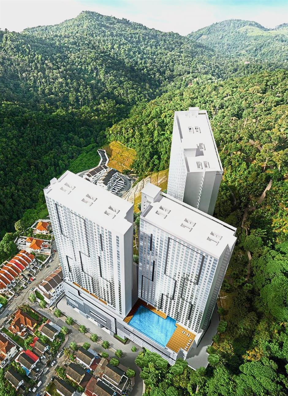 An artist's impression of the TREE0 affordable homes by Hunza Group at Sungai Ara in Penang.