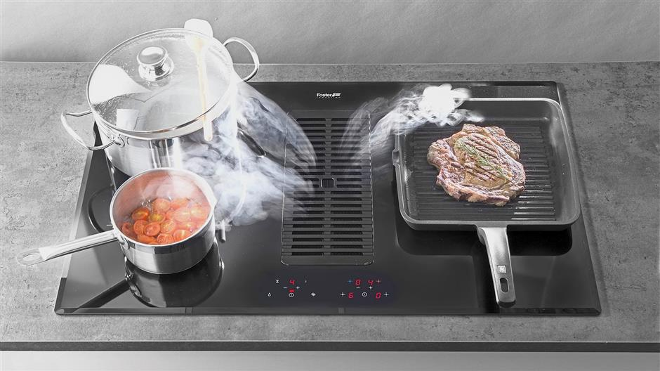 With Foster Milano Air, steam goes straight from pot to integrated hood.