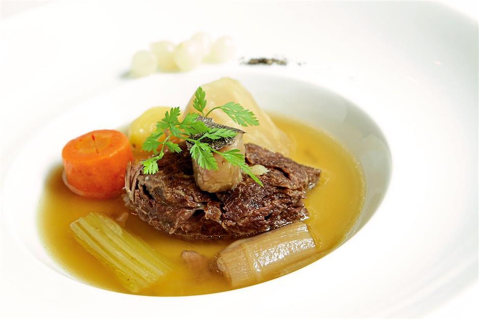 Main dish, Beef cheek pot au feu, bone marrow and roasted duck liver.