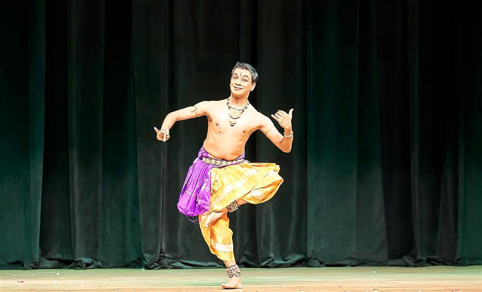 Local talent: Shankar from the Temple of Fine Arts mesmerising the audience with his Bharathanatyam performance at the festival.