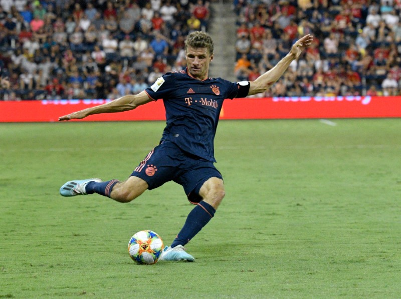 Jul 23, 2019; Kansas City , KS, USA; Bayern Munich forward Thomas Mu0178ller (25) kicks a shot on goal against Milan in the second half during the International Champions Cup soccer series at Childrenu00d5s Mercy Park. Credit: Denny Medley-USA TODAY Sports