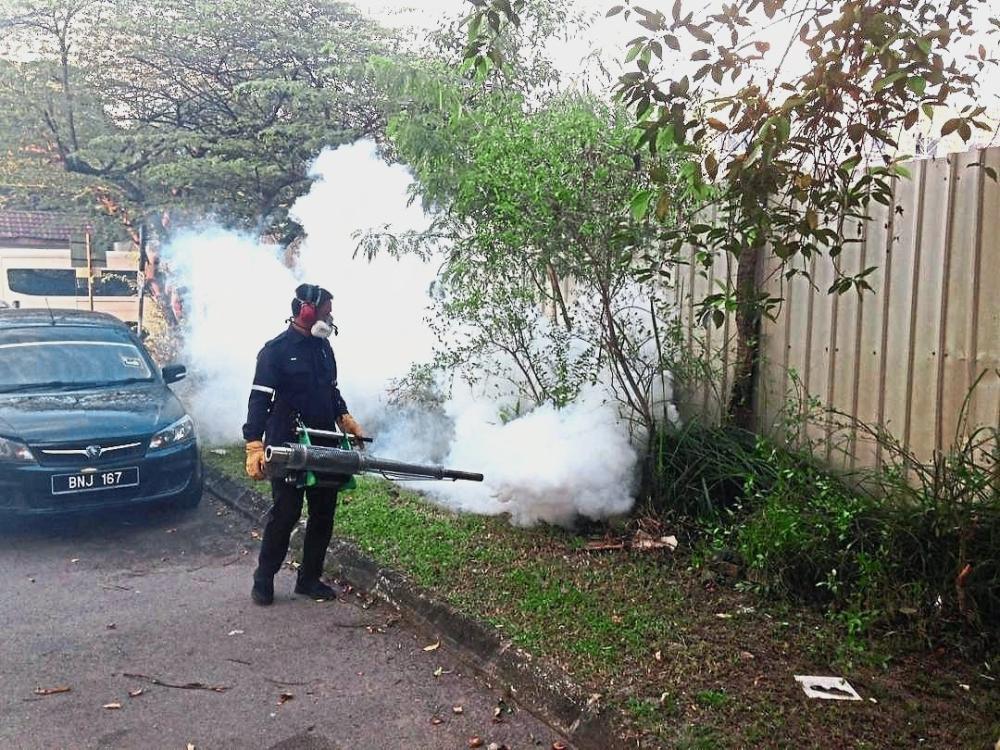 A Health Department worker fogging a Klang neighbourhood.