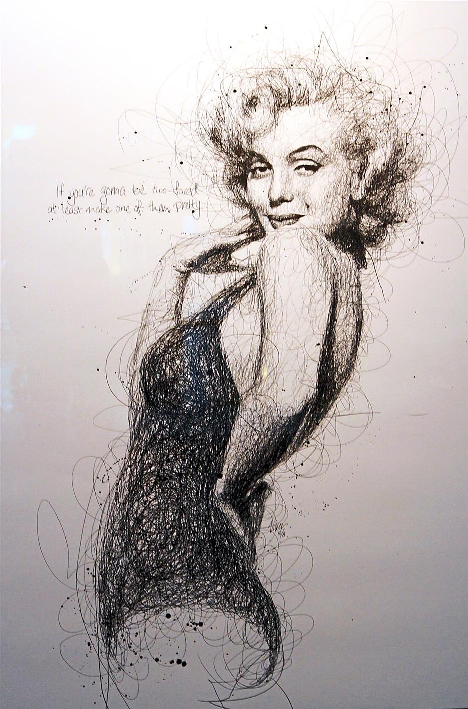 Oh hello there: A drawing of actress Marilyn Monroe by Low.