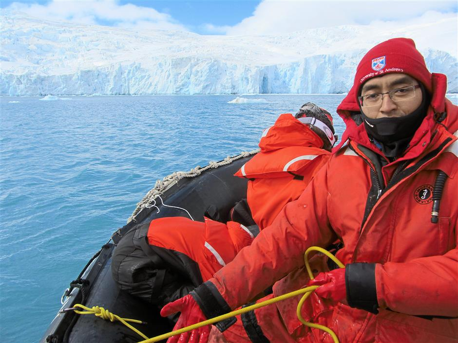 All wrapped up: Dr Wan Mohd Rauhan used his seven weeks in Antarctica to collect and analyse samples for his benthic community study.