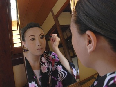 Rinka takes two hours to put on her make-up and dress up as a geisha for formal occasions.