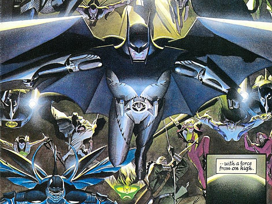 The Batman swoops in to save the day (sort of) in Kingdom Come. He sure knows how to make an entrance, huh?
