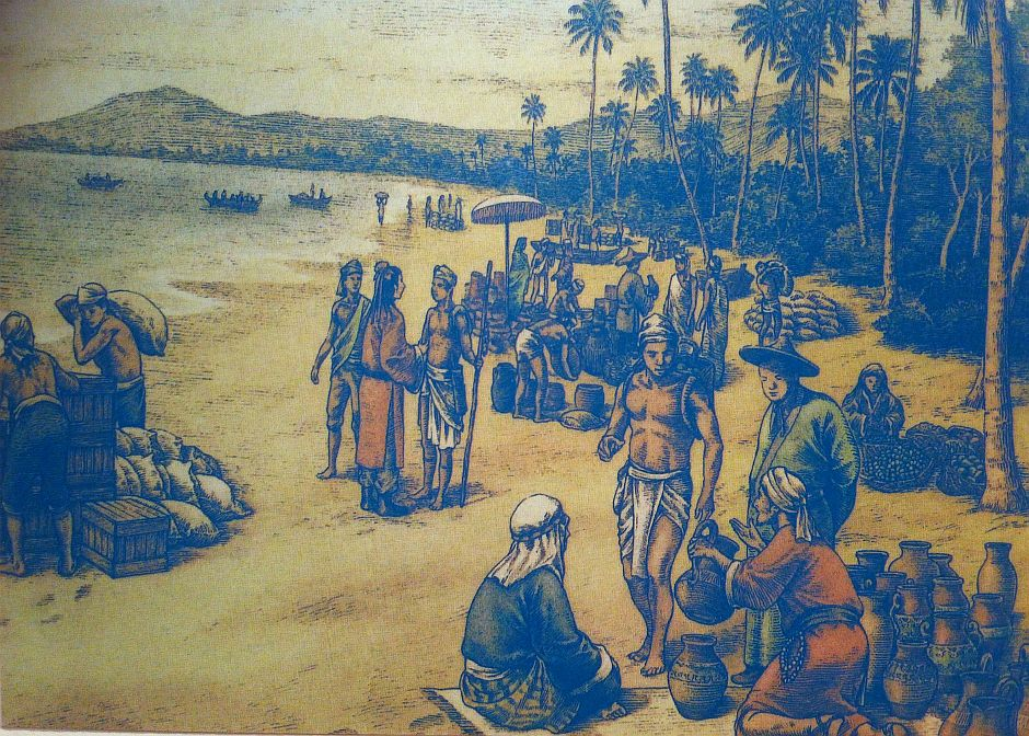 An artist's impression of trade activities in Lembah Bujang during ancient times. Picture from the Bujang Valley Archaeological Museum.