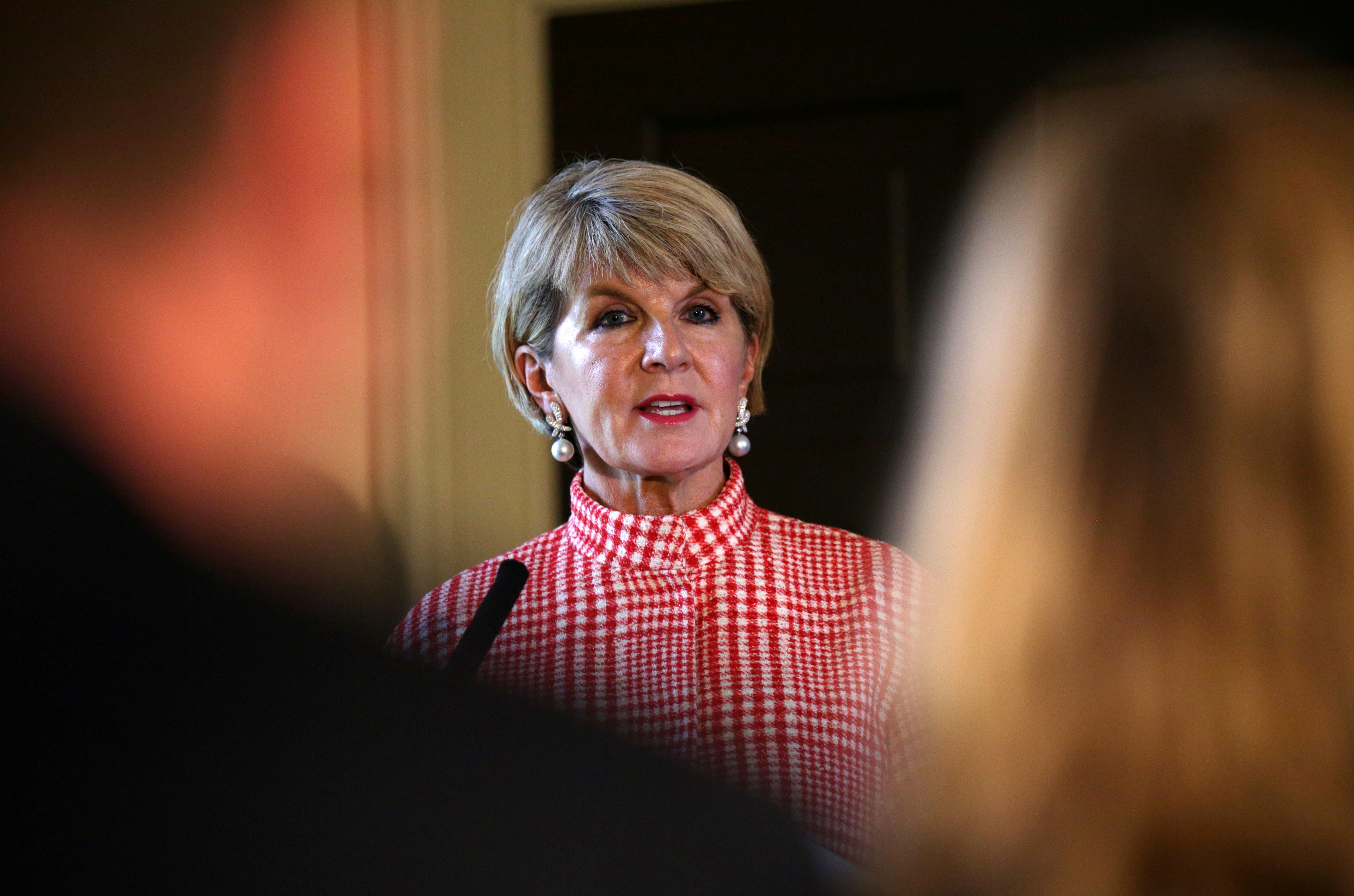 FILE PHOTO: Australia's Foreign Minister Julie Bishop gives a press conference at the Royal Botanic Garden in Edinburgh, Scotland July 20, 2018. David Cheskin/Pool via Reuters/File Photo